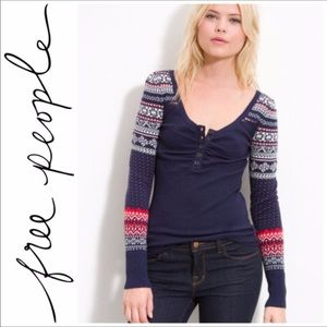 Free People Fair Isle Henley Ribbed Top M